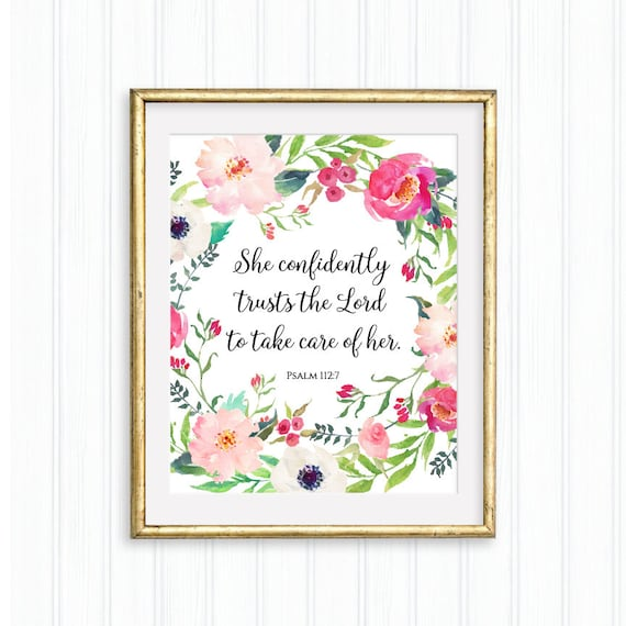 She Confidently Trusts The Lord Psalm 1127 Printable Bible Etsy