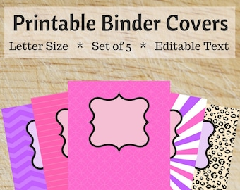 Printable Binder Covers - Purple, Pink, and Leopard