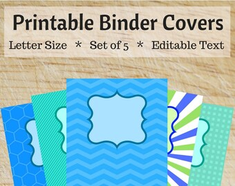 Printable Binder Covers - Blue and Green