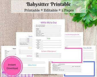 Babysitter Printable - Babysitter Info - INSTANT DOWNLOAD