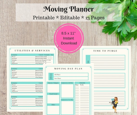 moving planner relocation printable moving checklist etsy