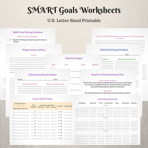 Smart Goal Setting Worksheets Etsy