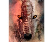 Native American Art Print.Native American Indian and wolf. First Nations, Indigenous, wolf art,  abstract art, spiritual art, male gift