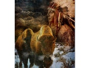 Native American Art Print, Native American Indian with Bison, First Nations. Fine art print / gallery canvas wrap male gift, Valentines gift