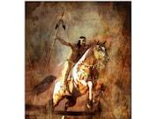 Native American Art Print, Native American Warrior on Horseback , First Nations, indigenous, male gift, wall art, fine art. Tribal Spirits