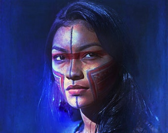 Native American Art Print or Canvas Wrap. Native American Girl. First Nations, Beautiful Woman, Warrior Woman, wall art, home decor