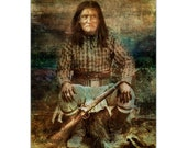 Native American Art Print Geronimo - Native American Indian Chief, First Nations, Indigenous, Indian warrior,  male gift. Tribal Spirits Art