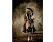 Native American Art Print or Canvas Wrap. Native American Warrior and Chief on Horseback. First Nations, Vintage Art, wall art, home decor