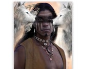 Native American Art Print  'As One'. Native American Indian with wolves. First Nations people, warrior, male gift,