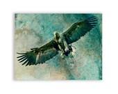 Native American Art Print 'Majestic'. Eagle, Spirit guide, bird of prey, hunter, Native American, prints, wall decor. JoWalshArt