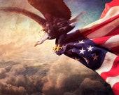 Wall Art Print 'America'. Bald eagle and American Flag, starts and stripes, USA wall decor, Xmas gift, JoWalshArt