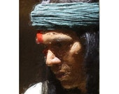 Native American Art Print 'Meditation'. Native American Indian, Apache, Indigenous, First Nations People, warrior, male gift, Xmas gift
