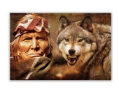 Native American Art Print,Native American Indian and wolf. First Nations, Apache,  Indigenous, wolves art. Male gift, Xmas gift