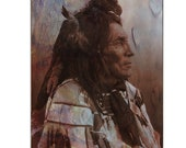 Native American Art Print, 'Crow'. Native American, Warrior, crow feathers, First Nations, Grandfather, father, male gift. Xmas gift