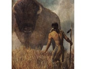 Native American Art Print,Native American Indian with Buffalo, First Nations, Indigenous. , male gift, Valentines gift