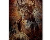 Native American Art Print 'Assiniboine Chief' Native, American Indian. , war bonnet, medicine man, Grandfather, Father, male gift, Xmas gift