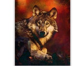 Wolf Art Print  of 'Hunting', Beautiful wolf. Wolf pack, Native American, animals,dogs,wildlife, wall decor,