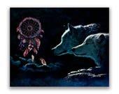 Wolves Art Print of 'Dream Wolves'. Dream catcher, wolf, fantasy art, Native American, prints, canvas wraps, wall decor.