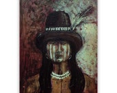 Native American Art Print 'Two Feathers'. Native American Indian. Warrior, Original art,  Grandfather, Father, male gift, Xmas gift