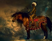 Native American Art Print, Native American Indian on horseback At Print, First Nations, Indigenous, painting, canvas wrap, male gift.
