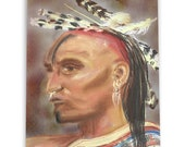Native American Art Print 'Shawnee'. Native American Indian.  Shawnee Tribe,Original pastel art