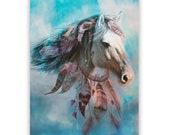 Horse Art Print 'Dream Horse. Dream catcher, horse, fantasy art, Native American, child's gift, child's bedroom art, Xmas gift