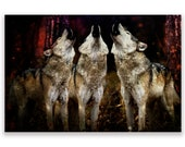 Wolf Art Print 'Howling at the blood moon', Pack of Three Wolves. Wolf pack, landscape, animals,dogs,wildlife, wall decor,Xmas gift