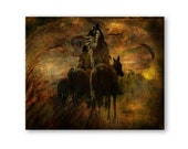 Native American Art Print,  Indians on horseback. First Nations, Indigenous, grandfather, husband, male gift, Xmas gift