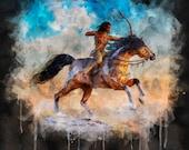 Native American Art Print Watercololour. Native American Indian on horseback. First Nations, grandfather, husband, male gift, Xmas gift