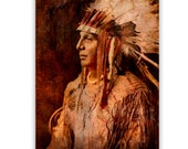 Native American Art Print, Native American Indian, First Nations, war bonnet, feathers, Grandfather, father, male gift. Xmas gift.