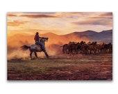 Horses art print or Canvas wrap. Wild Horses, cowboy, sunset stallion, equestrian, digital art, wall decor, wall art,