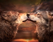 Wolf Wall Art Print Or Canvas Wrap  'Wolf Love ' Various sizes,  landscape, animals, wild dogs, wildlife, wall decor, Xmas gift
