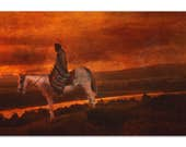 Native American Art Print 'Sunset Warrior'. Native American Indian horseback rider, sunset. Grandfather, father, male gift, Xmas gift