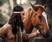 Native American Art, canvas wrap SALE 20% OFF, Native American Indian and horse. First Nations, Indigenous, male gift, wall art