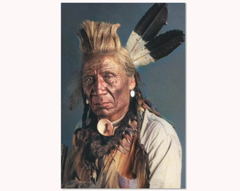 Native American Art Print or Canvas Wrap. Weasel Tail, Blackfoot Chief. First Nations, Vintage photography, wall art, home decor