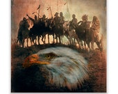 Native American Art Print or Canvas Wrap 'War Party'. Native American Indians on horseback. First Nations, male gift,