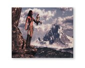 Native American Art Print, Native American Indian hunting with an eagle. Landscape painting, First Nations, Indigenous, male gift