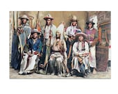 Native American Chiefs Art Print or Canvas. Chief Washakie and group of Shoshoni leaders. 1884, Vintage photograph, wall art, Home décor
