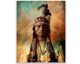 Native American Art Print 'Chief Three Fingers'. Cheyenne, Native American Indian. American West, rituals, prayers, wall decor, JoWalshArt