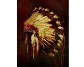 Native American Art Print, 'war Bonnet'. Native American Indian. Warrior, First Nations, native headdress, Grandfather, Father, male gift,