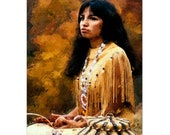 Native American Art Print 'Apache Girl'. Native American Indian, Apache, Indigenous, First Nations People, warrior, male gift, Xmas gift
