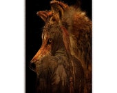 Native American Art Print, Wolf and Native American, First nations, warrior, fantasy art, spiritual, wolf art