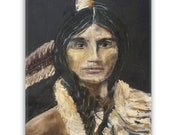 Native American Art Print 'Proud'. Native American Indian. Warrior, Original pastel art,  Grandfather, Father, male gift, Xmas gift