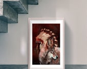 Native American Art Print, Native American Indian war bonnet and wolf. First Nations, Indigenous, wolves art. Male gift, Xmas gift