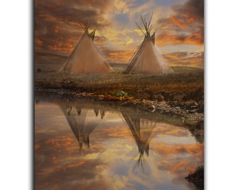Wall Art of Native American Teepees, Tipis 'Home' , Art print or Canvas Wrap landscape, sunset, wall decor. JoWalshArt