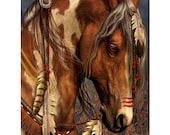Native American Horse Art Print 'War Horse' , Native American painted horse, prints, stallion, painted horse, wall decor. JoWalshArt