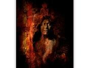Native American Art Print 'Bears Belly'. Native American, warrior, war bonnet, medicine man, Grandfather, father, male gift.