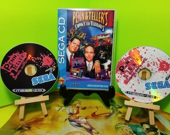 Penn & tellers smoke and mirrors reproduction case and free art disc for sega cd