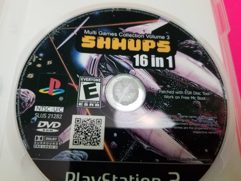 16 in 1 Shmup pack for the Playstation 2 reproduction DVD case with FREE  art disc and roms , Homebrew