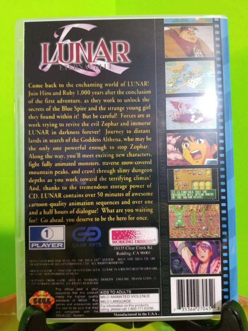 Lunar Eternal blue reproduction DVD an free printed art disc with self  booting rom